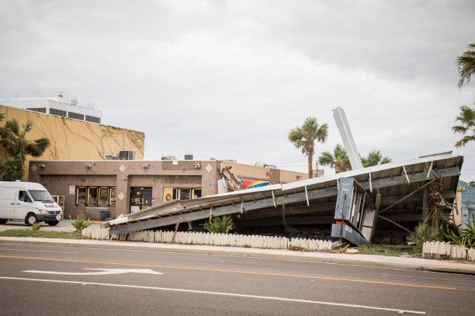 Extreme Weather - Hurricane Damaged Gas Station