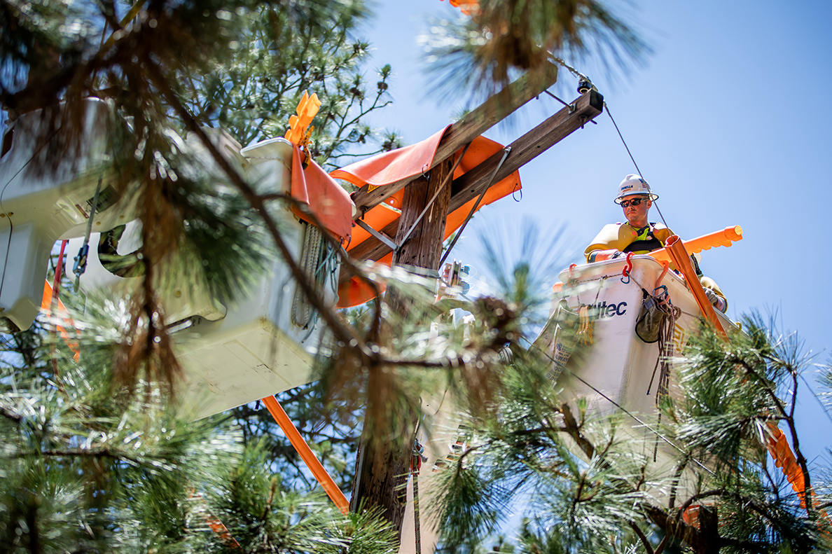 A team member from DPS-CA working on power lines in San Bernandino County, CA.