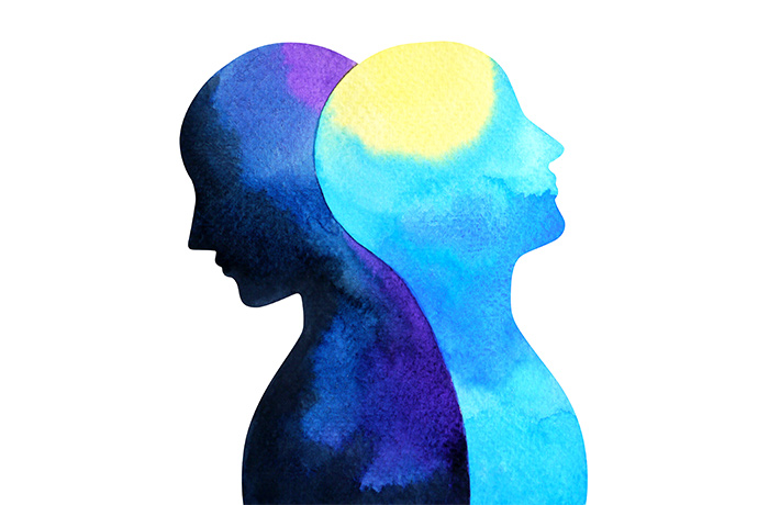 Watercolor illustration of two silhouettes back to back.